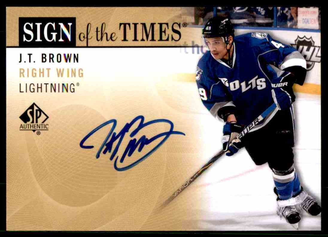 2012-13 Upper Deck SP Authentic Sign Of The Times J.T Brown #SOT-BW card front image