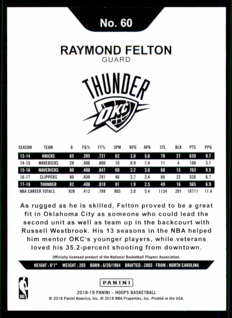 2018-19 Hoops Raymond Felton #60 card back image