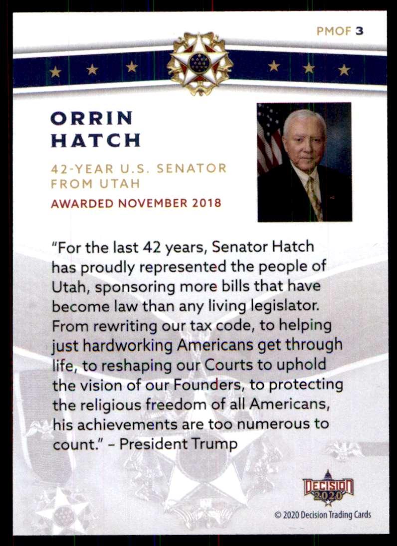 2020 Decision Presidential Medal Of Freedom Orrin Hatch #PMOF3 card back image