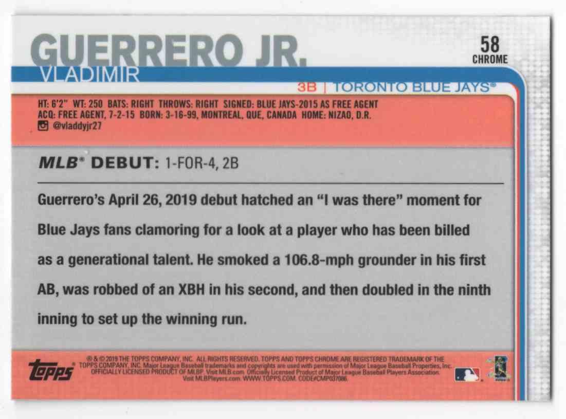 2019 Topps Chrome Update Vladimir Guerrero JR Rd #58 card back image