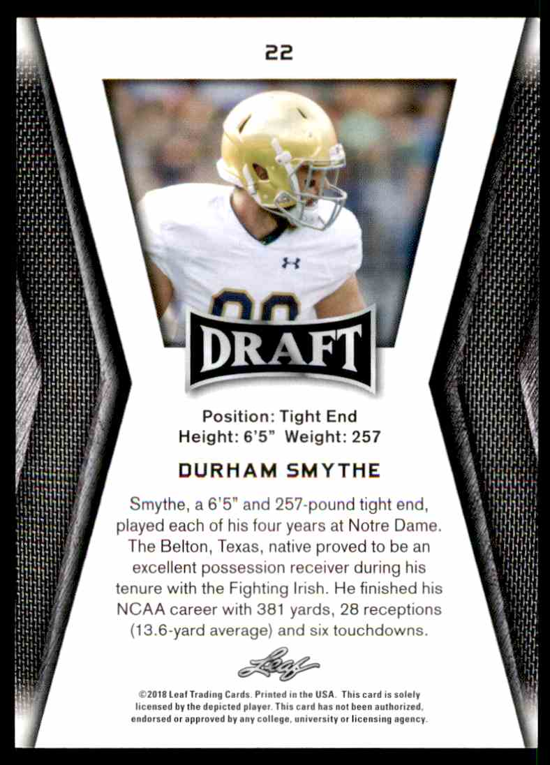 2018 Leaf Draft Durham Smythe #22 card back image