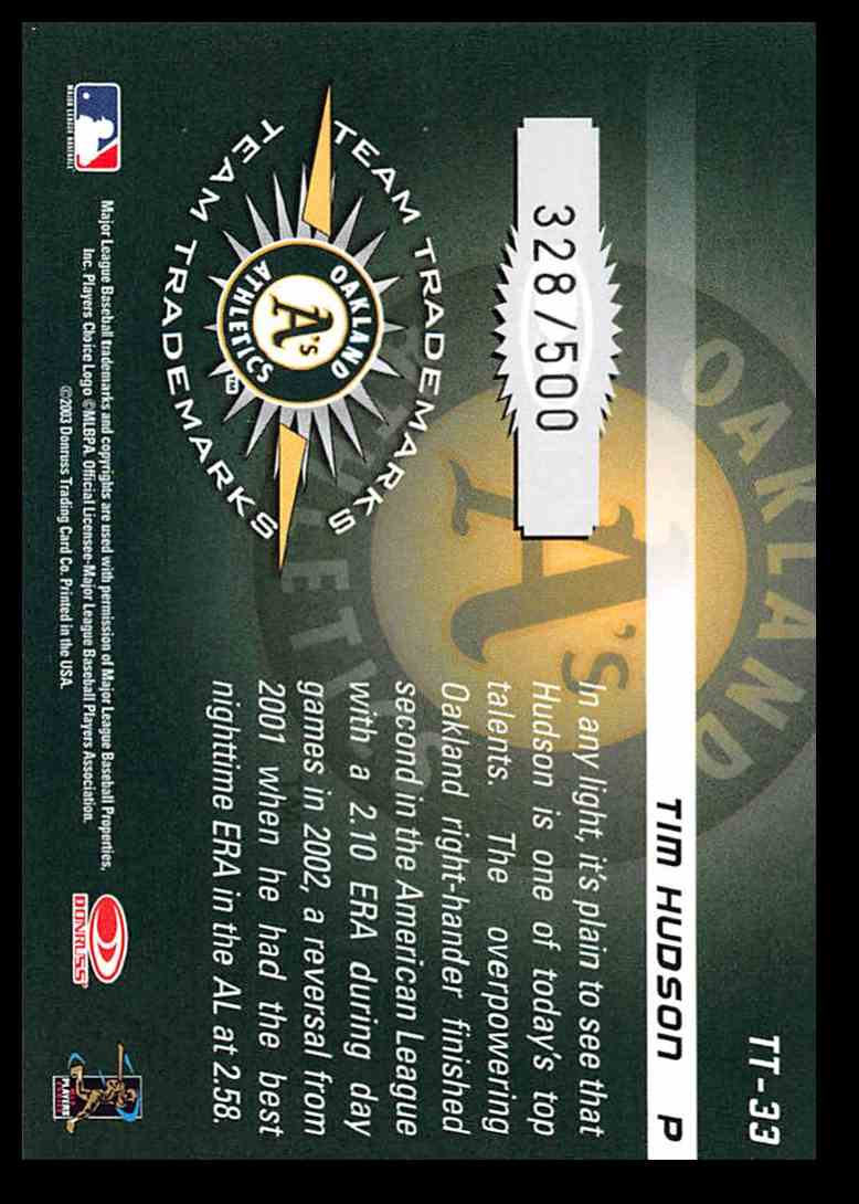 2003 Donruss Signature Team Trademarks Tim Huson #33 card back image