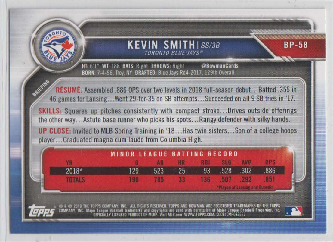 2019 Bowman Prospects Kevin Smith #BP-58 card back image