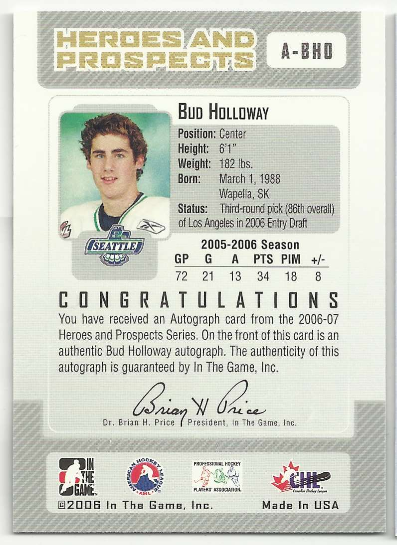 2006-07 In The Game Heroes And Prospects Autographs Bud Holloway #A-BHO card back image