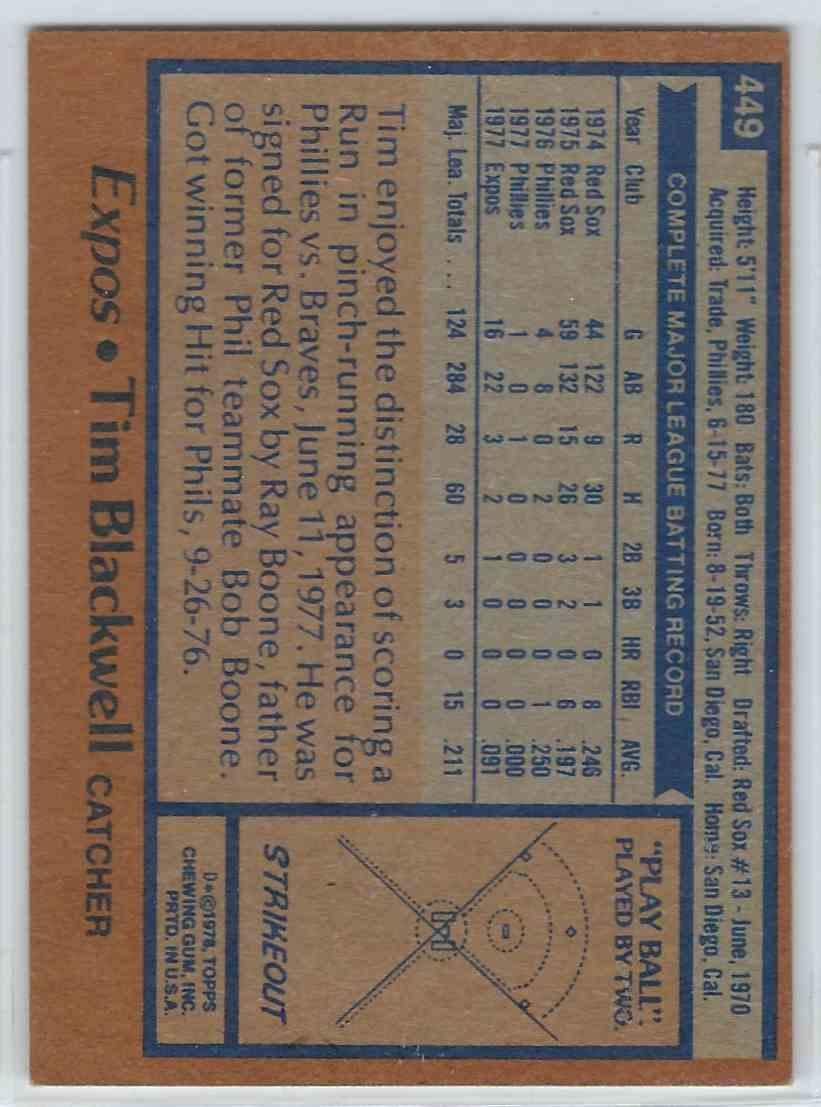 1978 Topps Tim Blackwell #449 card back image