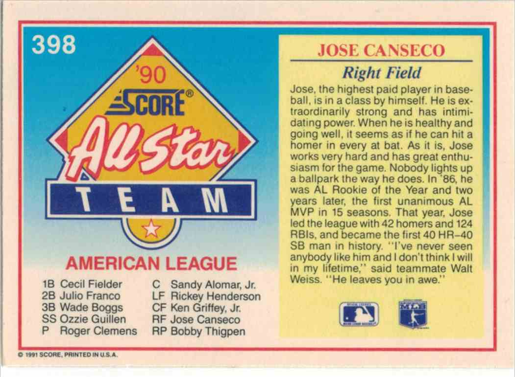 1991 Score Jose Canseco #398 card back image