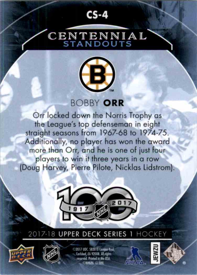2017-18 Upper Deck Centennial Standouts Bobby Orr #CS-4 card back image