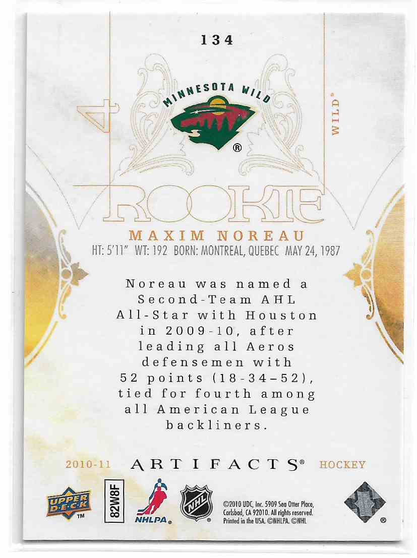 2010-11 Upper Deck Artifacts Maxim Noreau #134 card back image