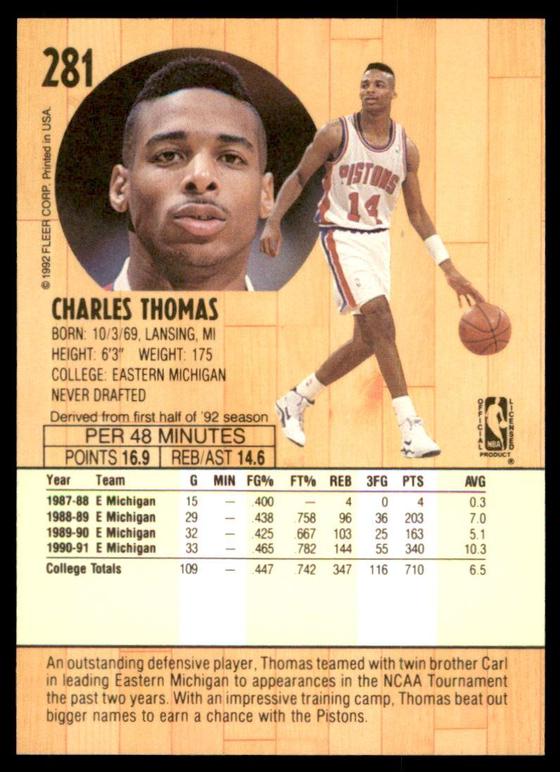 1991-92 Fleer Charles Thomas #281 on Kronozio