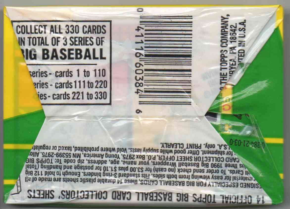 1990 Topps Big Series 3 Unopened Pack #8 card back image