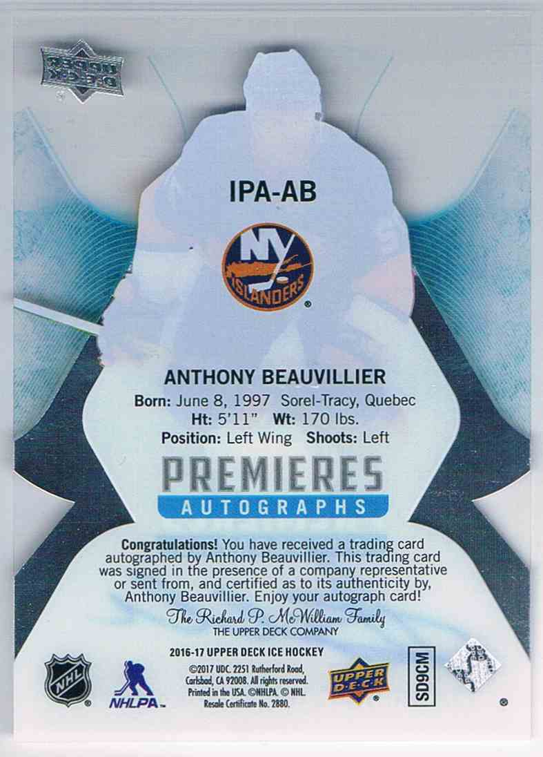 2016-17 Upper Deck Ice Premieres Autograph Anthony Beauvilier #IPA-AB card back image