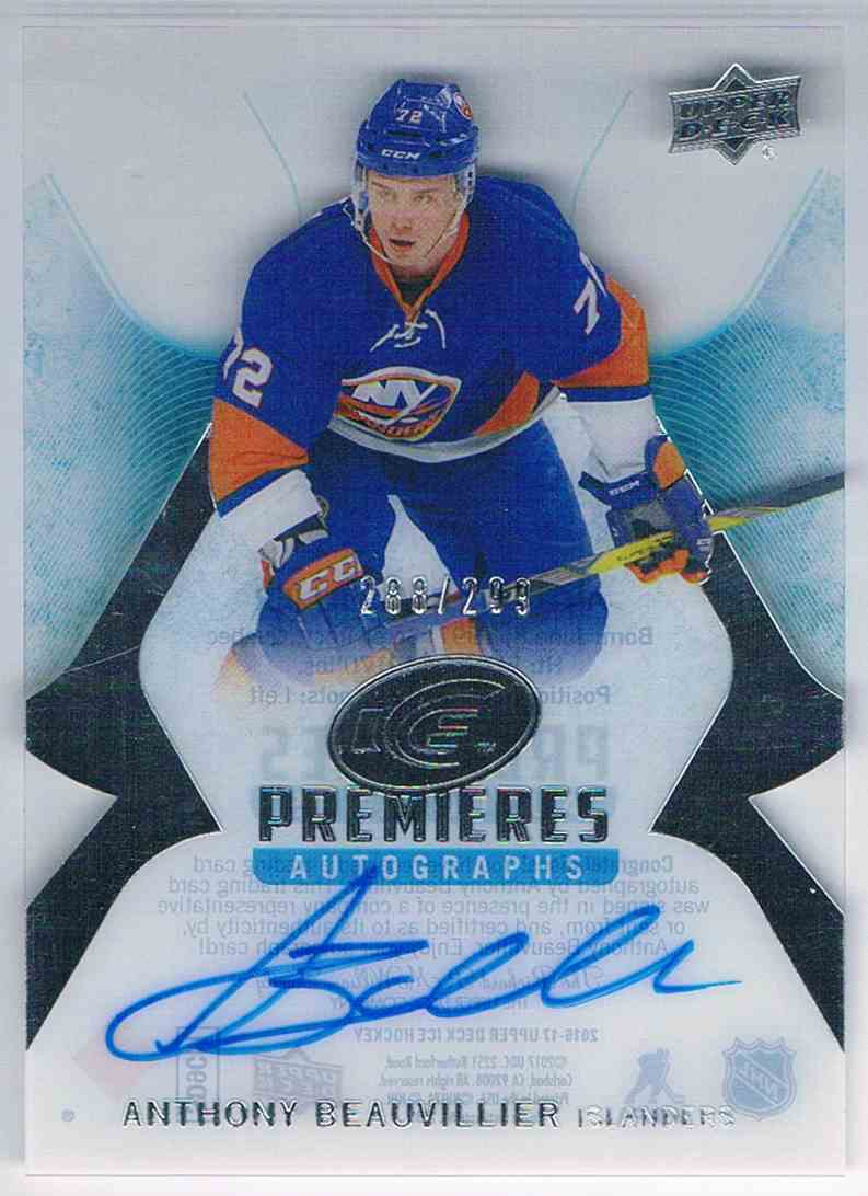 2016-17 Upper Deck Ice Premieres Autograph Anthony Beauvilier #IPA-AB card front image