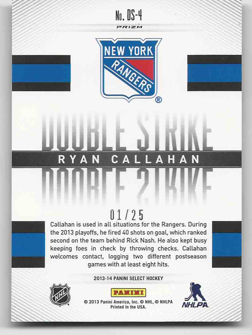 2013-14 Select Double Strike Prizms Ryan Callahan #DS-4 card back image