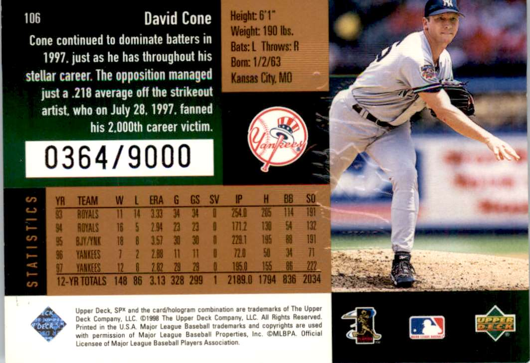 1998 SPx Finite David Cone #106 card back image