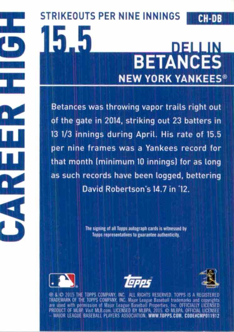 2015 Topps Dellin Betances #CH-DB card back image