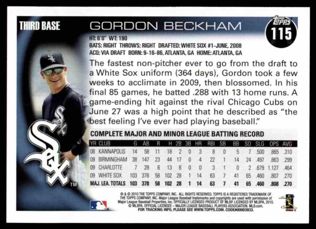 2010 Topps Gordon Beckham #115 card back image