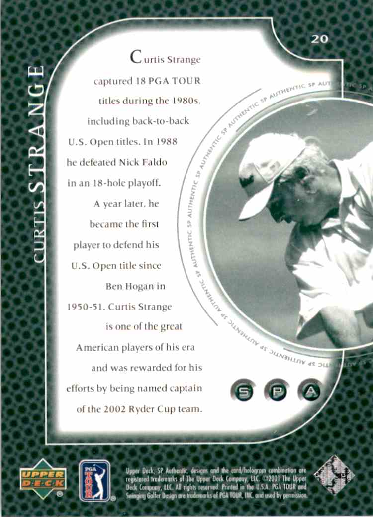 2001 SP Authentic Preview Curtis Strange #20 card back image