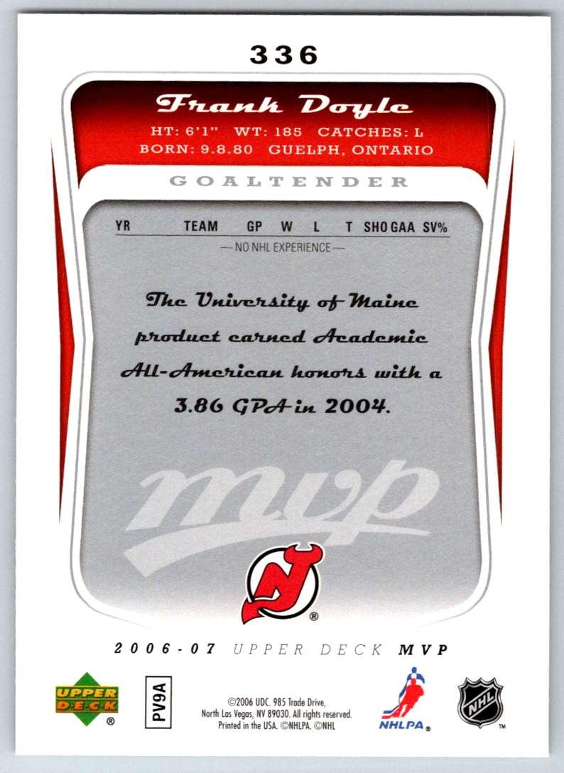2006-07 Upper Deck MVP Frank Doyle #336 card back image