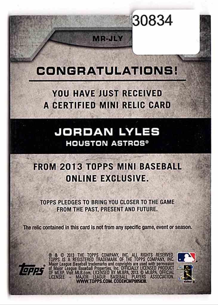 2013 Topps Mini Relics Jordan Lyles #JLY card back image