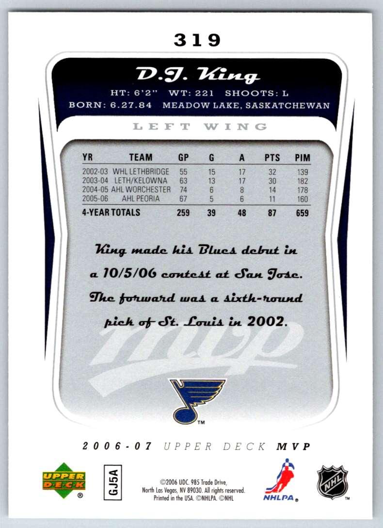 2006-07 Upper Deck MVP D.J. King #319 card back image