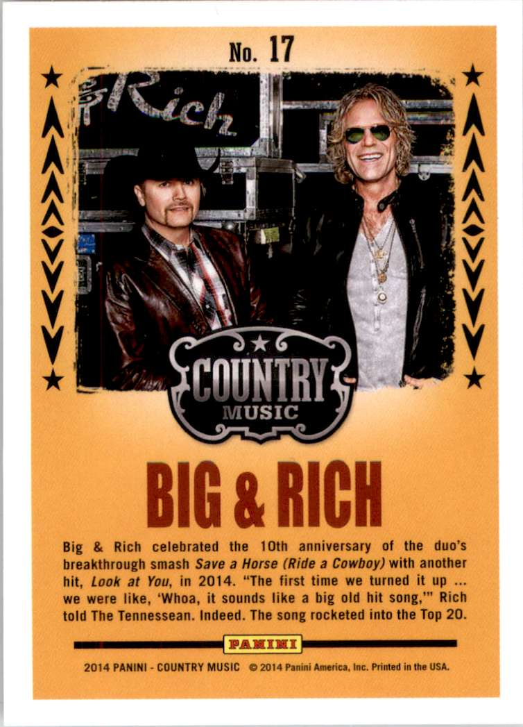 2015 Country Music Backstage Pass Retail Big & Rich #17 card back image