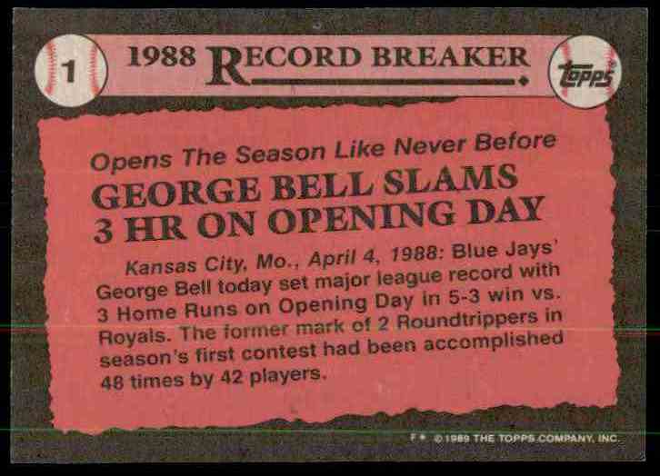 1989 Topps George Bell RB/Slams 3 Hr On/Opening Day #1 card back image