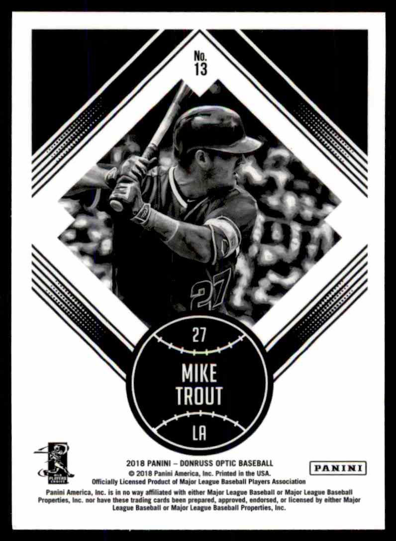 2018 Donruss Optic Diamond Kings Mike Trout #13 card back image