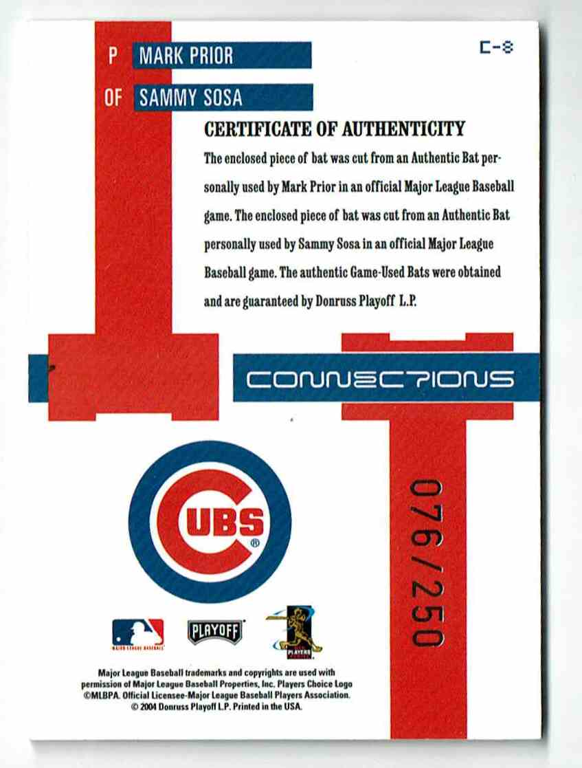 2004 Playoff Prestige Connections Sammy Sosa/Prior #8 card back image