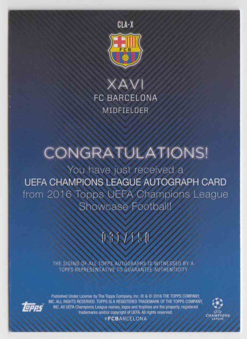 2015 Topps Champions League Green Xavi #CLA-X card back image