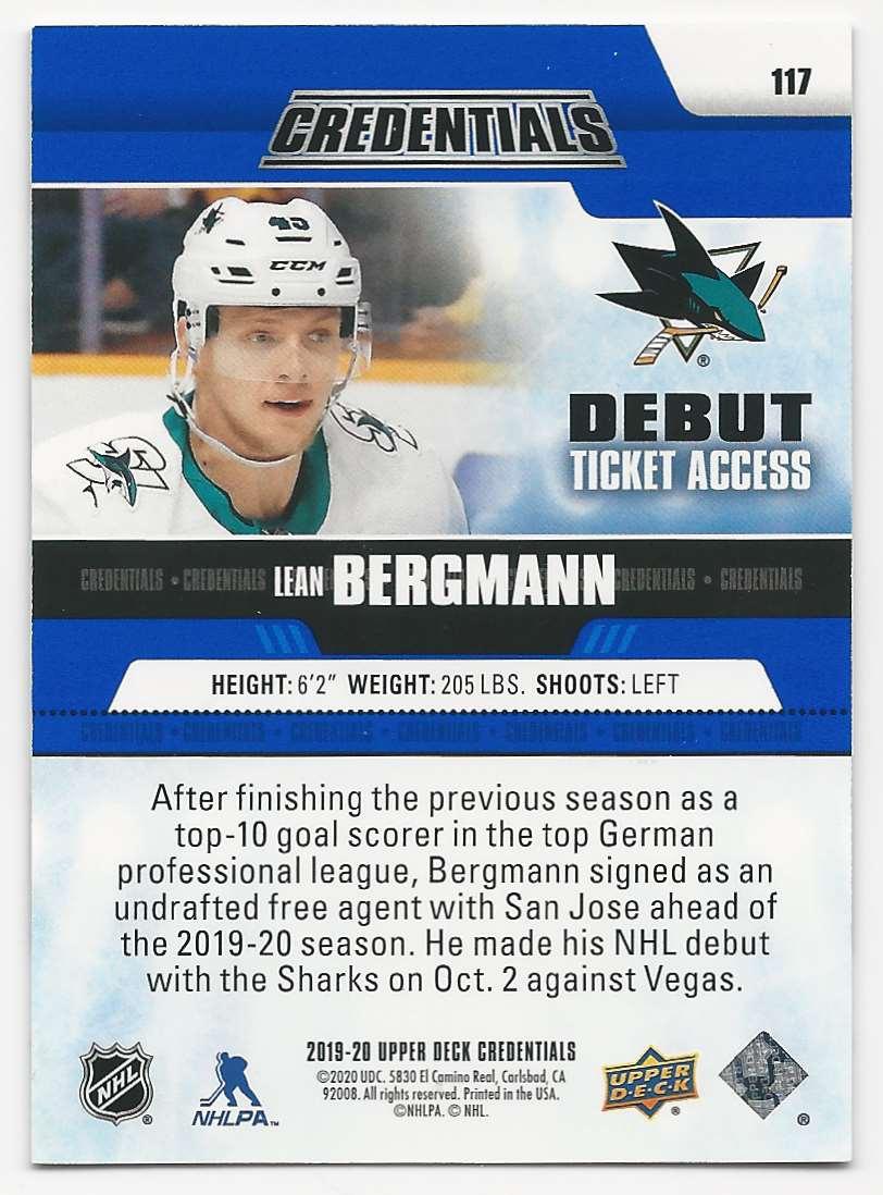 2019-20 Upper Deck Credentials Lean Bergmann #117 card back image