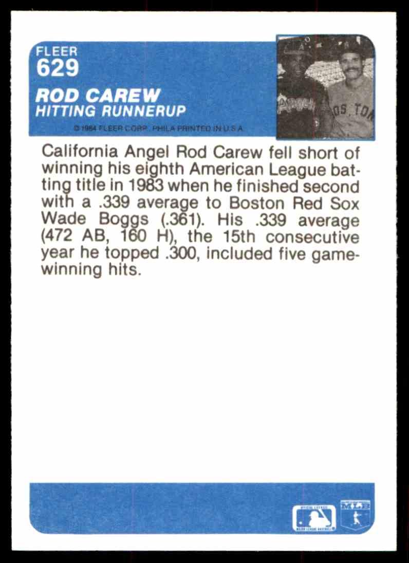 1984 Fleer Rod Carew #629 card back image