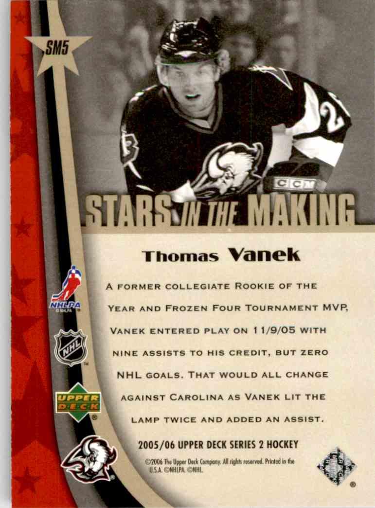 2005-06 Upper Deck Stars In The Making Thomas Vanek #SM5 card back image