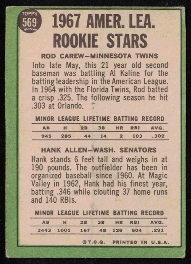 1967 Topps Rod Carew VG crease #569 card back image