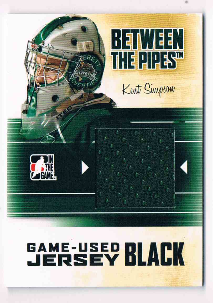 2010-11 ITG InThe Game Between The Pipes Game-Used Jersey Kent Simpson #M-36 card front image