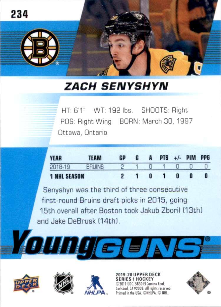 2019-20 Upper Deck Zach Senyshyn Yg RC #234 card back image