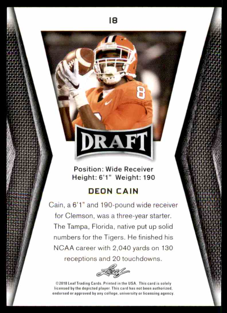 2018 Leaf Draft Deon Cain #18 card back image
