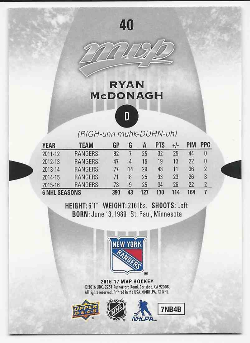 2016-17 Upper Deck MVP Silver Script Ryan McDonagh #40 card back image