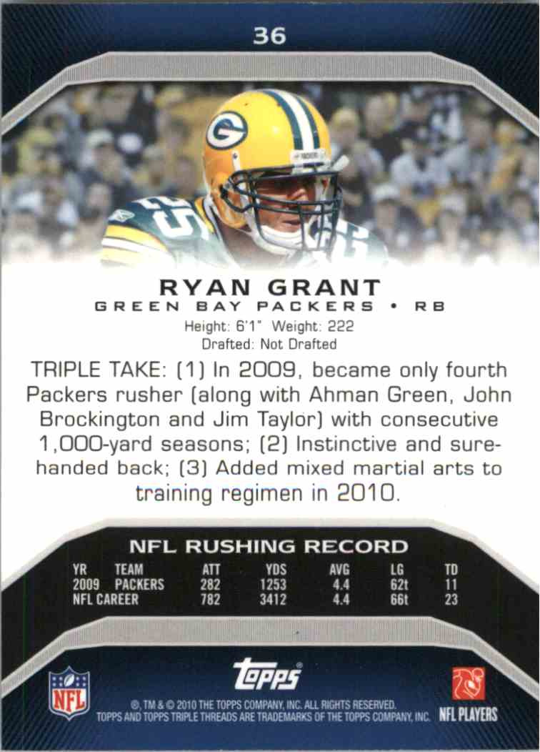 2010 Topps Triple Threads Ryan Grant #36 card back image