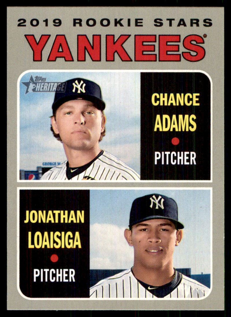 2019 Topps Heritage Chance Adams/Jonathan Loaisiga #189 card front image