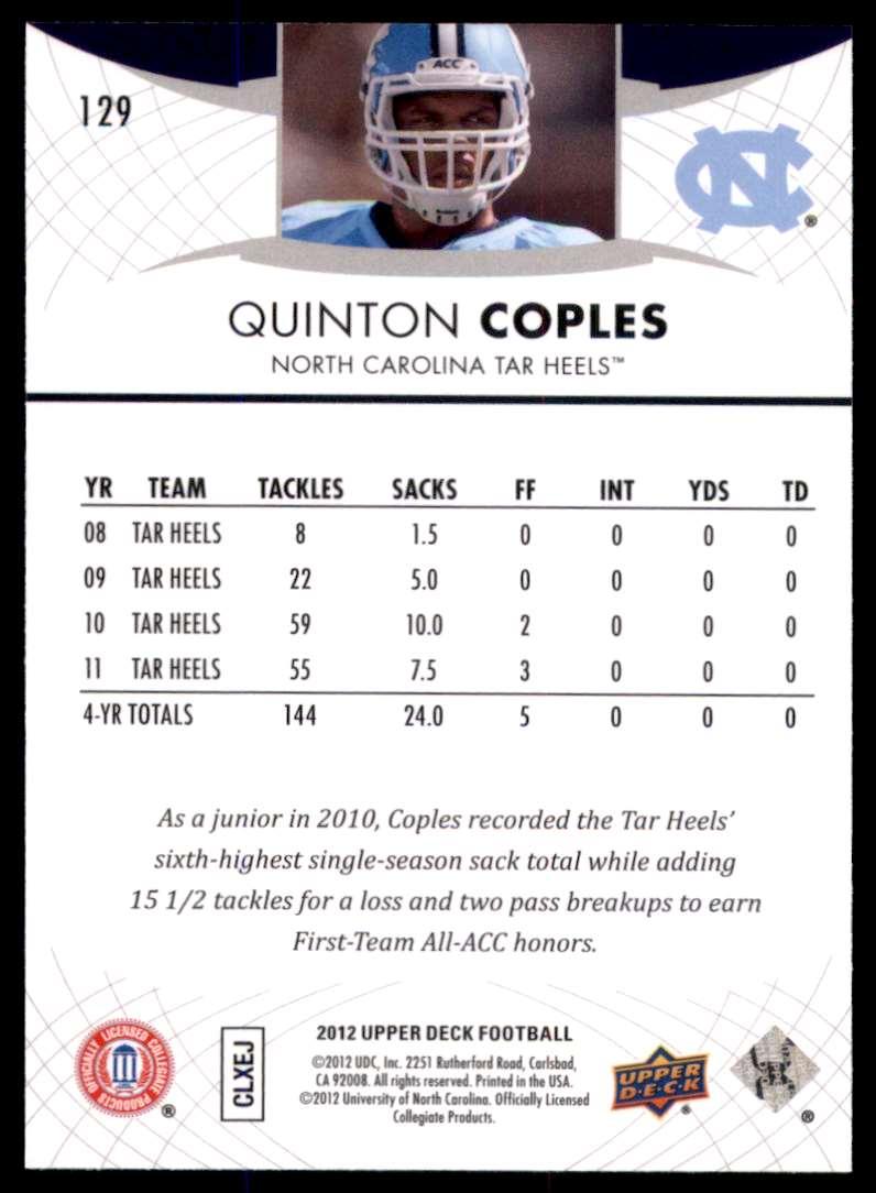 2012 Upper Deck Quinton Coples #129 card back image