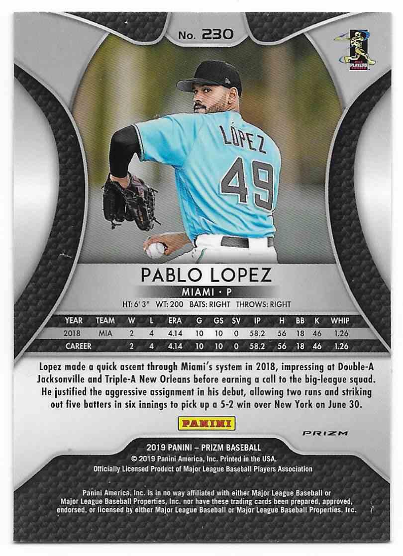 2019 Panini Prizm Prizm Pablo Lopez #230 card back image