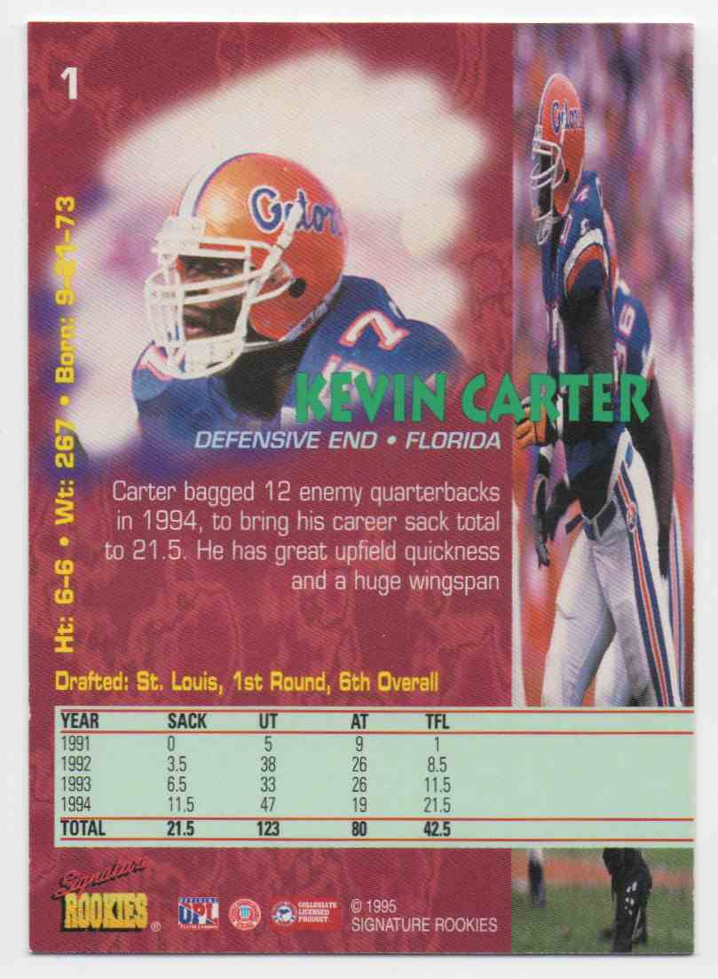 1995 Signature Rookies Tetrad Kevin Carter #1 card back image