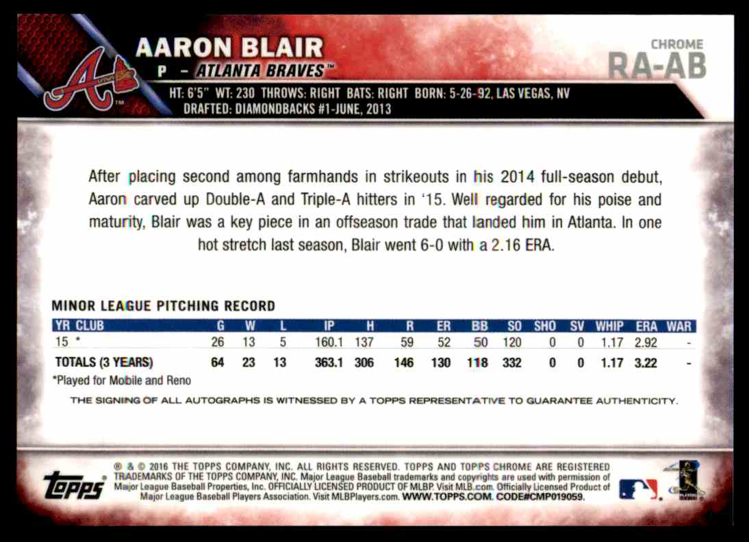 2016 Topps Chrome Aaron Blair #RA-AB card back image