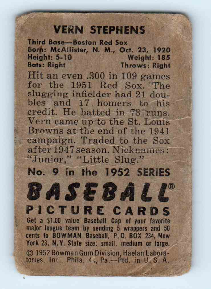 1952 Bowman Vern Stephens #9 card back image