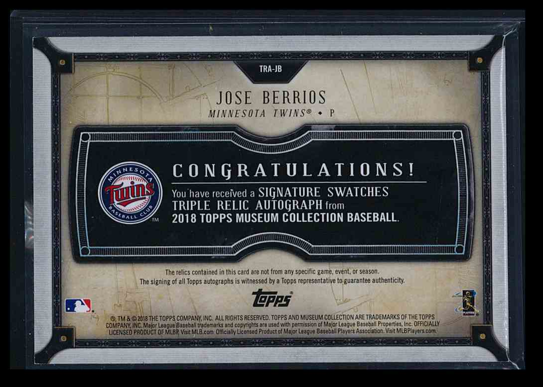 2018 Topps Museum Collection Signature Swatches Jose Berrios #TRA-JB card back image