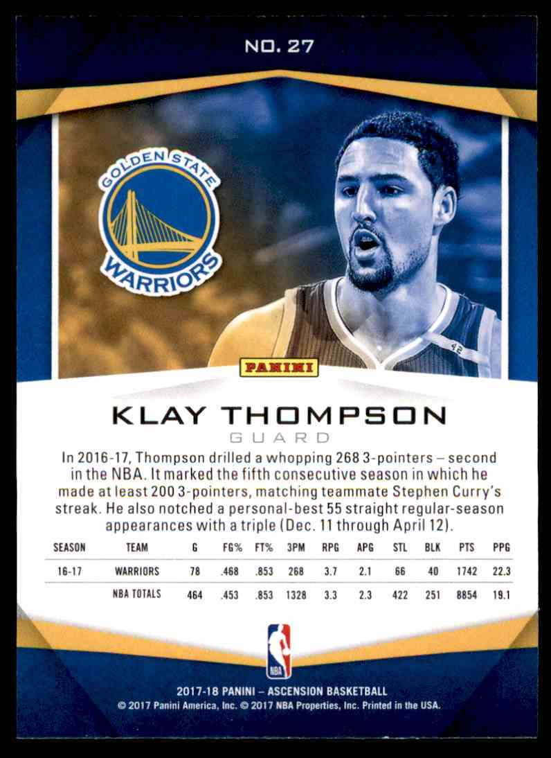 2017-18 Panini Ascension Klay Thompson #27 card back image