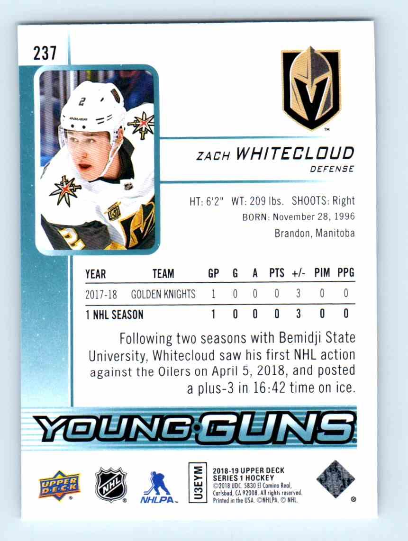 2018-19 Upper Deck Young Guns Zach Whitecloud #237 card back image