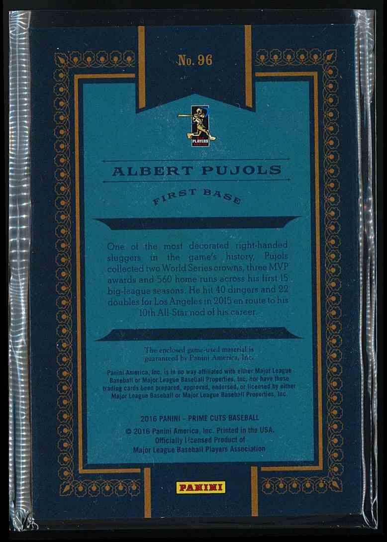2016 Panini Prime Cuts Albert Pujols #96 card back image