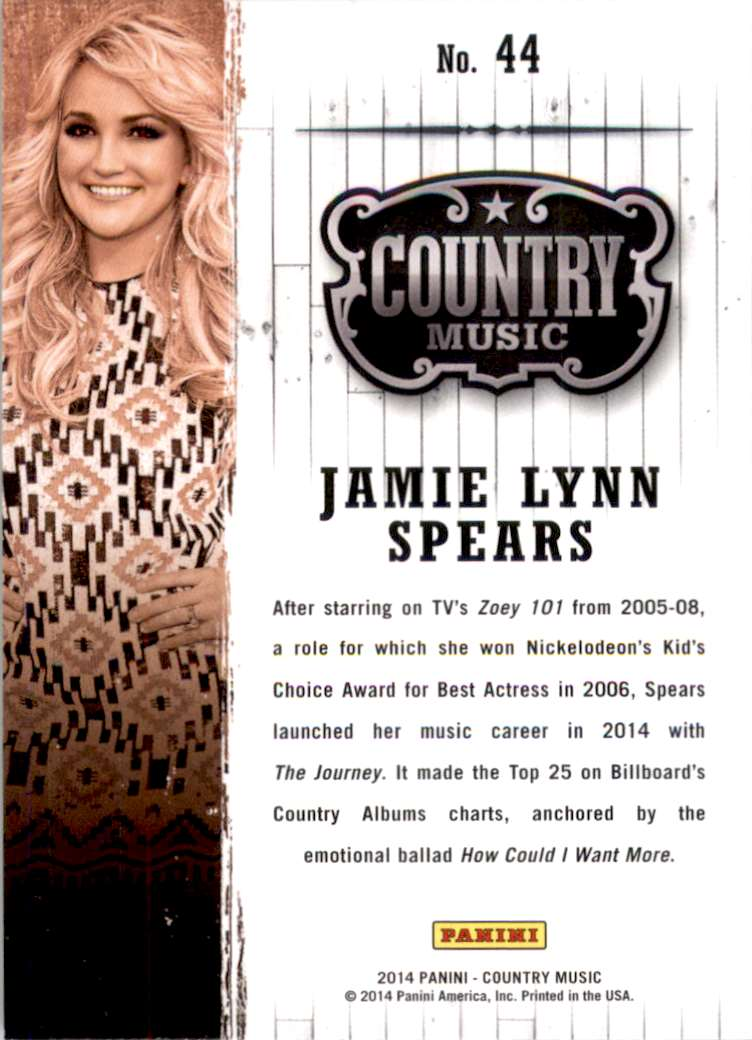 2015 Country Music Retail Jamie Lynn Spears #44 card back image