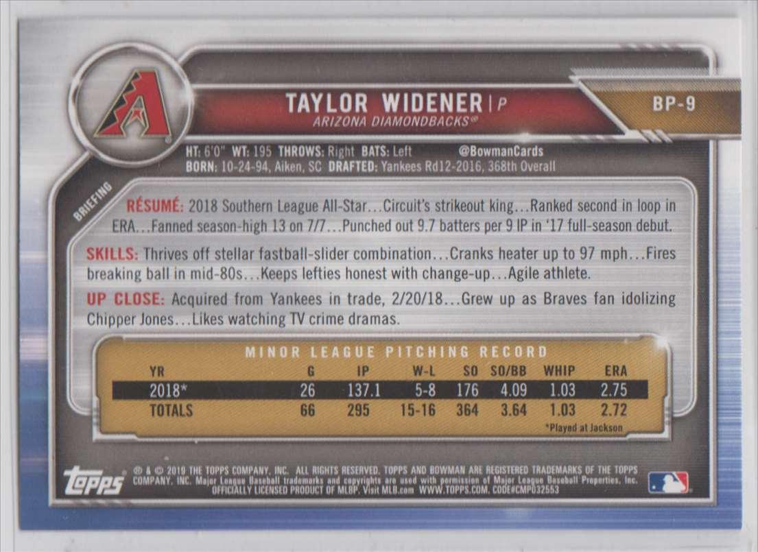 2019 Bowman Prospects Taylor Widener #BP-9 card back image